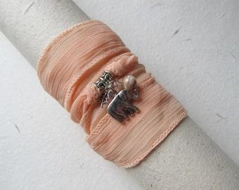 Wrap bracelet, silk bracelet, elephant bracelet, yoga jewelry