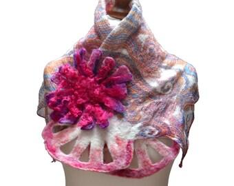 Nuno Felted  scarf collar handmade felted shawl felted art OOAK nunofelted art wool scarf