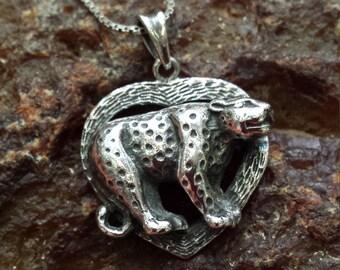 Sterling silver vintage spotted leopard pendant
