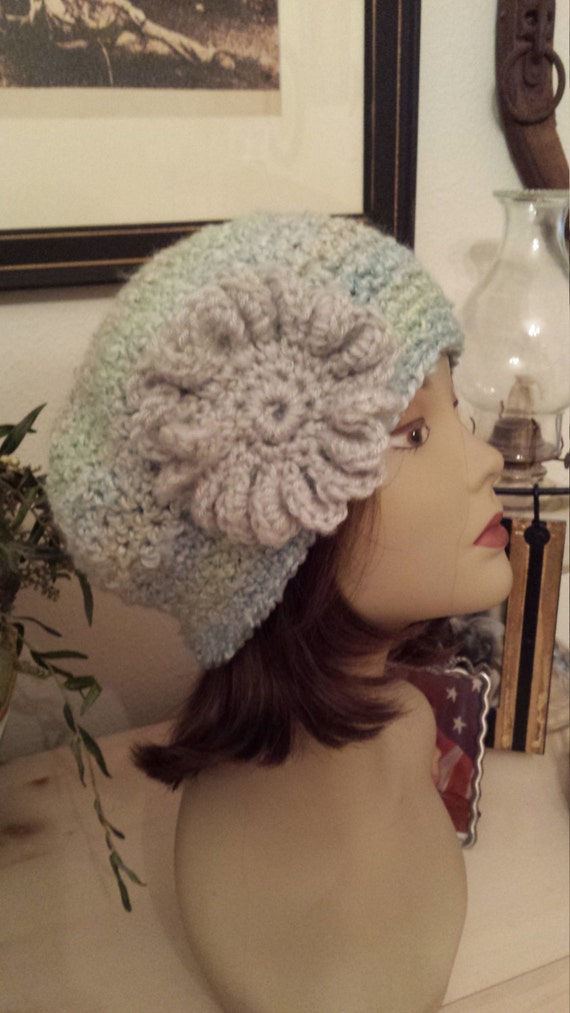 Winter Hats with flower crochet and made by petronella