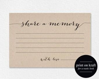 Share a Memory Card, Memory Cards, Share a Memory Printable, Memorial Card, Keepsake, Funeral Memory Card, PDF Instant Download, #BPB84_1