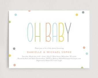 Baby Shower Invitation, Gender Neutral Oh Baby Shower Invitation - Editable Printable Template Instant Download #BPB93