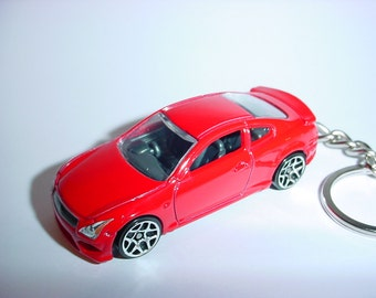 3D Infiniti G37 custom keychain by Brian Thornton keyring key chain finished in red color trim chrome wheels
