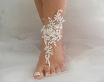 Beach Wedding Barefoot Sandals, Wedding Shoes, Ivory Lace Beaded Barefoot Sandals, Wedding Anklets, Wrist Sandals, Embroidered Sandals, Gift