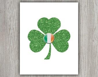 Instant Download Holiday Decorations, Clover, Green Glitter Art, St Patricks Day Irish Art, Irish Gifts, Ireland Print, Irish Decor