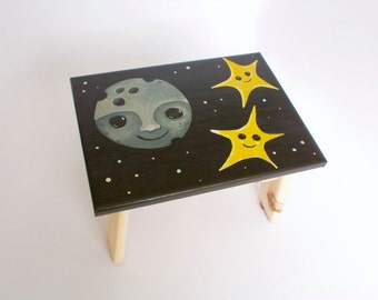 Hand-Painted Moon and Stars Step Stool / Foot Stool