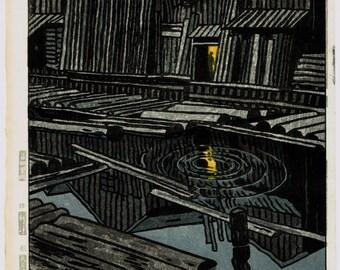 "Japanese Ukiyoe, Shin-hanga, Woodblock print, antique, Kasamatsu Shiro, ""Water at Kiba"""