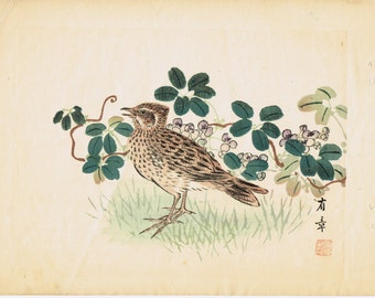 "1913, Japanese Woodblock print, antique, Nakajima Yusyo, ""Lark"""