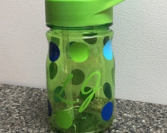 Kids' size; polka dot; personalized; water bottle