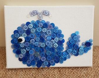 Button art whale canvas