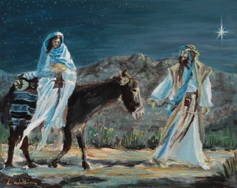 Mary and Joseph, PRINT, Nativity, Jesus, Christmas, Christian, Color, Black and White Available, (Original not Available)