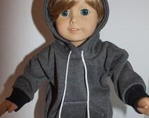"""18 inch boy doll hoodie / doll sweatshirt / 18"""" doll hooded sweatshirt/ boy doll sweatshirt / doll hoodie / boy doll sweater / doll clothes"""