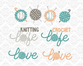 Knitting Knitter Crochet Crocheter Life Love Monogram Yarn Ball Craft SVG STUDIO Ai EPS Vector Instant Download Commercial Cricut Silhouette