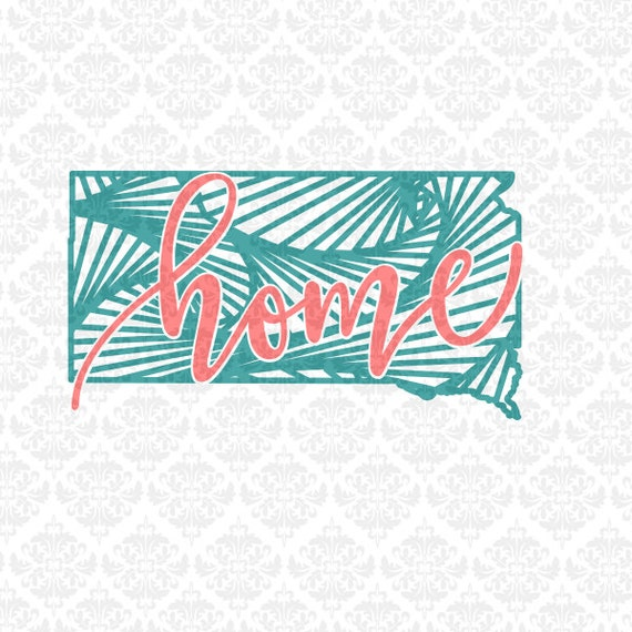 South Dakota Zentangle Filigree Line Art Monogram Home SVG STUDIO Ai EPS Vector Instant Download Commercial Cutting File Cricut Silhouette