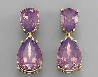 Amethyst Opal Tear Drop Crystal Earrings