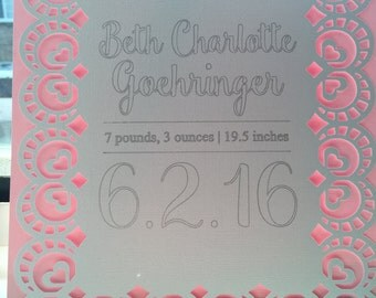 Papercut Birth Announcement, Baby Girl