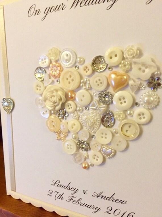 Large Scalloped Edge Button Wedding Card