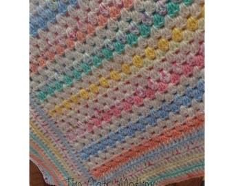 Granny stripe blanket in pastels