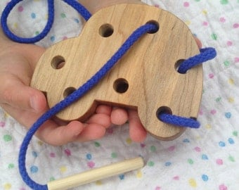 Car Wood Lacing Toy