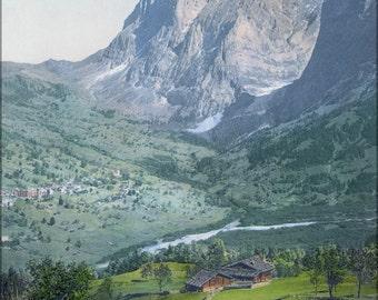 24x36 Poster . Grindelwald Um 1900 Switzerland Photochrom