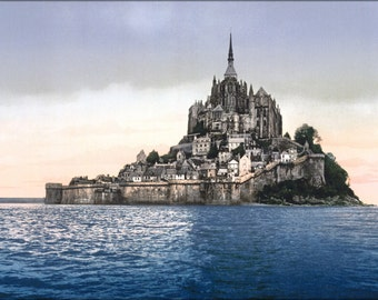 24x36 Poster . Mont St. Michel, France Photochrom 1890