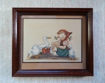 SALE!  REDUCED PRICE!  Hummel-like Print by Terra in Frame
