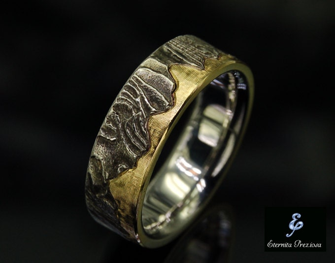 18k gold wedding band unique mens ring rustic wedding ring