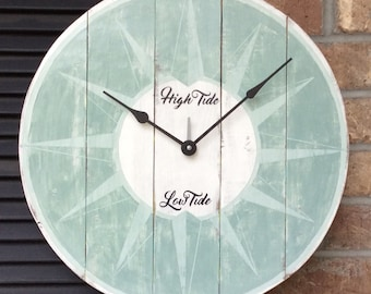 Tide Clock, Beach Clock, Wall Clock, Beach Decor, Nautical Wall Clock, Large Clocks, Beach house, Wedding gift