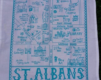 Illustrated map of St. Albans tea towel