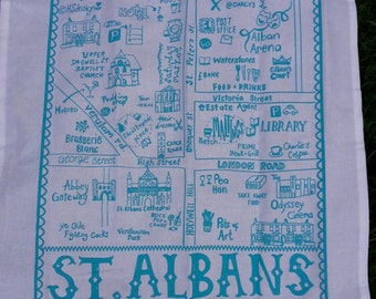 Mappa illustrata di strofinaccio di St. Albans