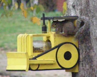 Handmade & Handpainted squirrel Feeder designed to look like a bulldozer