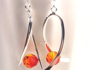 Leukemia awareness earrings. Swarovski fire opal crystals. Silver ribbon drop earrings.