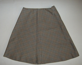 Vintage Size 10 Houndstooth Check Wool Skirt, Fully Lined, Handmade