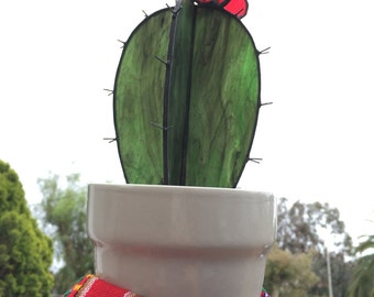 Stained Glass Cactus with Flower