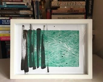 Green Waves Lino Prints Fine Line Design - A4 unframed