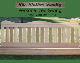 New Personalized 6 Foot Cedar Wood Decorative Porch Swing - Choice of Name/Phrase Woodburned On Swing- Hanging Rope - Free Shipping