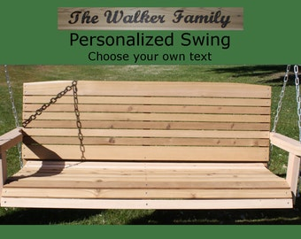New Personalized 7 Foot Cedar Wood Colonial Porch Swing - Choice of Name/Phrase Woodburned On Swing - Hanging Rope - Free Shipping