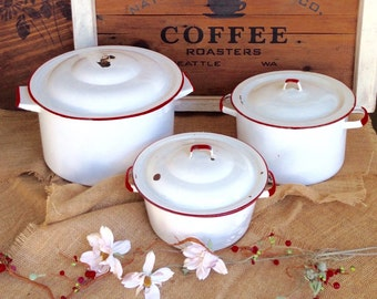Vintage 1950's White and Red Enamelware 3 Piece Set