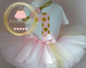Pink and gold birthday outfit - 1st birthday tutu outfit - tutu birthday outfit - pink and gold birthday party