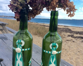Anchor Vase Bottles Pair of  Hand Stenciled Anchor Wine Bottle Vases Candlestick Holders Centerpiece Accent with Clam Shell and Rope