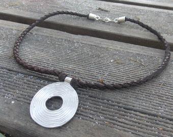 Leather necklace , woman necklace , leather necklace, women pendant leather, leather choker , boho necklace , leather jewelry, beads.