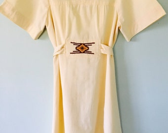 1960s/1970s  Yellow Embroidered Dress