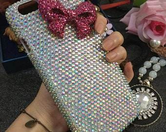 Bling Lovely Girly AB Gems Pink Bow Lovely Fashion Sparkles Charms Glossy Crystals Rhinestones Diamonds Gem Hard Cover Case for Mobile Phone