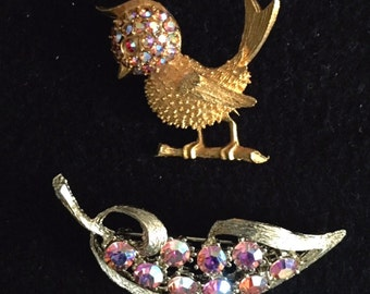 Free Shipping! Delightful Bird and Leaf Brooches from the 1960's featuring Aurora Borealis Rhinestones.