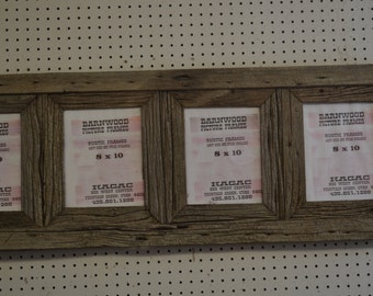 Rustic Barn Wood Picture Frame, 8 X 10 (4) Place Collage