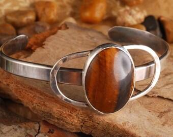 Tiger's eye oval cuff silver silver bracelet