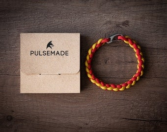 Men's bracelet-woman red-yellow unisex-Pulsemade Weave Collection-Handmade paracord 550 bracelet Mens-Womens red-yellow