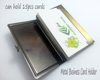 8pcs Business Card Case With Epoxy Sticker-Metal Business Card Holder-Metal Card Case-Blank Card Holder Frame-Holds a standard sized card