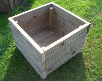 Large or Medium Square wooden decking garden planter,timber herbs planter, wood bedding planter