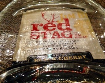 Melted bottle plate Jum Beam Red Stag